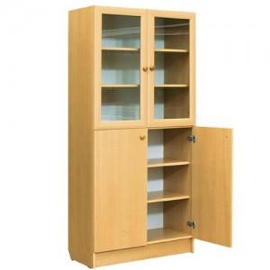 шкаф с полками верх стекло в рамке